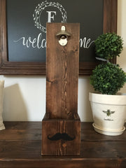 Rustic Wall Mounted Beer Bottle Opener Cap Catcher