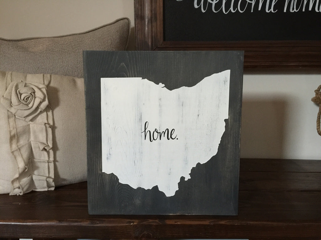 "Large Ohio ""Home"" Standing Block"