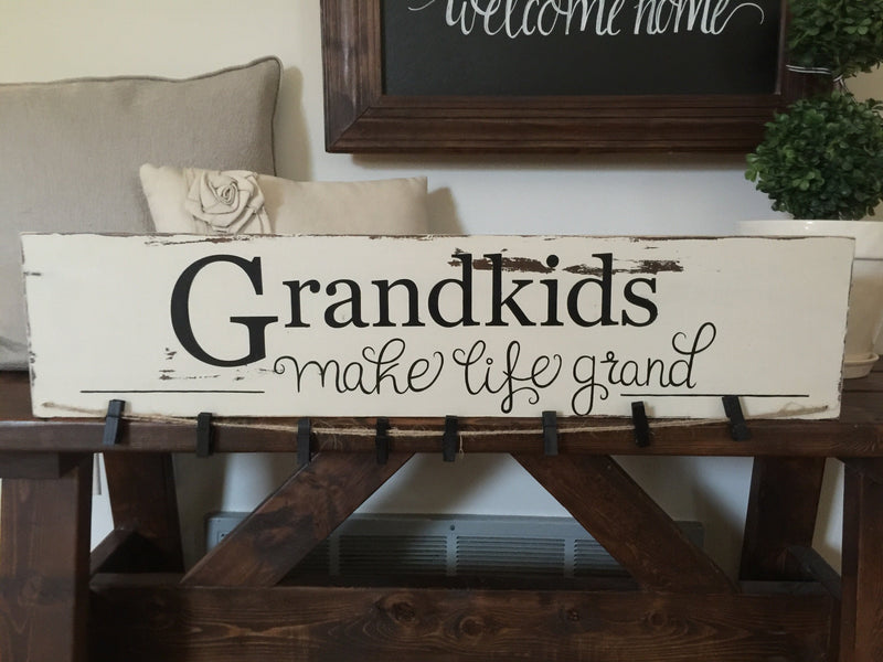 Grandkids Wood Sign Photo Display