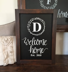 Welcome Home Framed Wood Wreath Sign