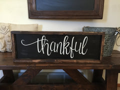 Thankful Framed Wood Sign
