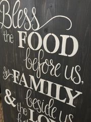 Bless the food before us, Dining room sign