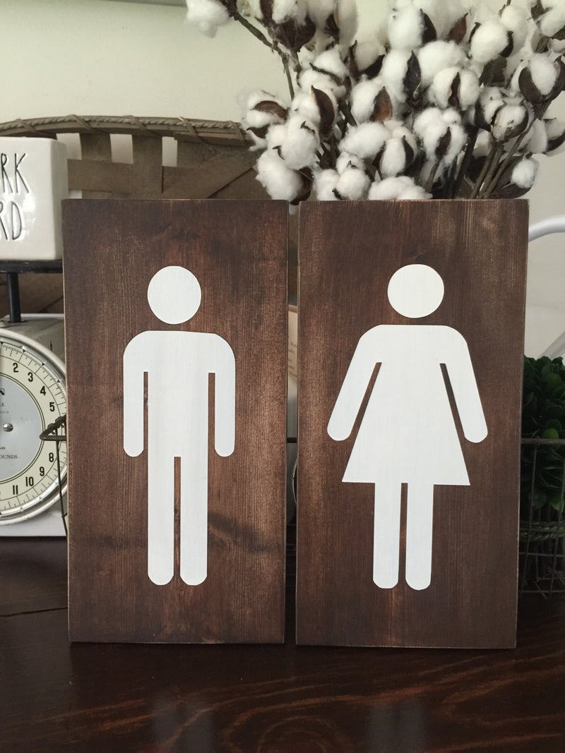 Bathroom Boy Girl Set of 2 Wood Signs