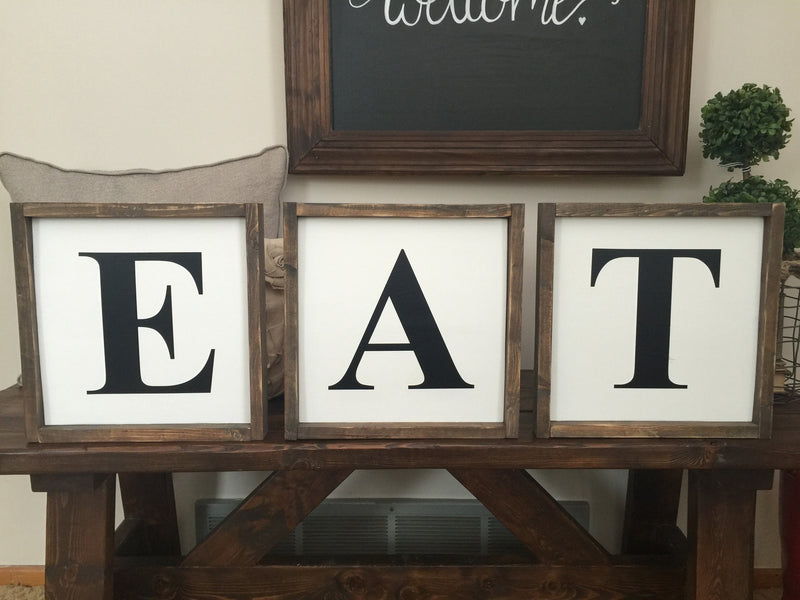 EAT Set of 3 Wood Signs