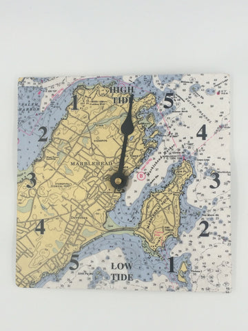 Tide Clock with Marblehead Nautical Chart, Nautical Home Decor