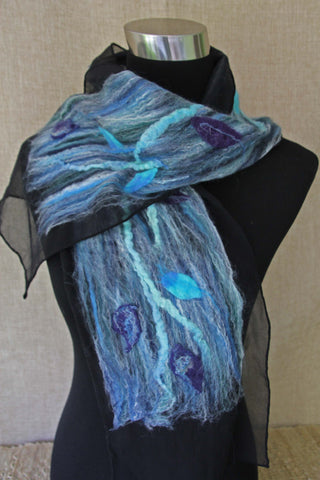 handmade nuno felted silk scarf, Coastal Fashion, Style