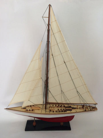 America's Cup Racer Sailboat Model, Nautical Home Decor