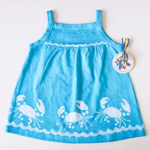 Turquoise Crab Baby Doll Dress