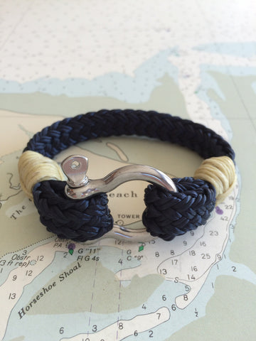 Marblehead.Works Rigger Bracelet Navy and Stainless Steel