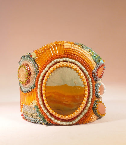 Cuff, beaded, Fine Art Jewelry, artisan