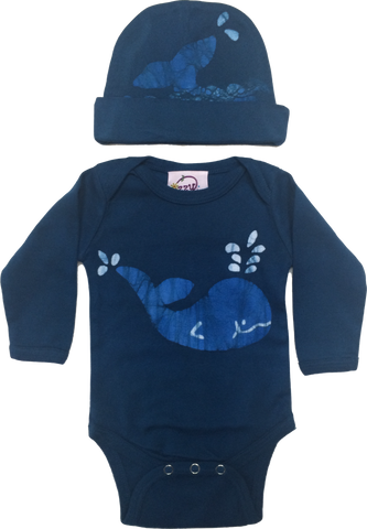 Navy Whale Long Sleeve Infant Romper