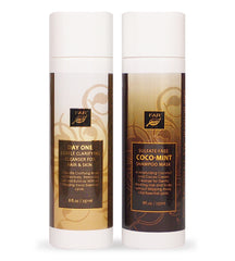 Day One Gentle Clarifying Cleanser For Hair & Skin + Sulfate-Free Coco-Mint Shampoo Mask - Two Bottle Set - FAR Botanicals