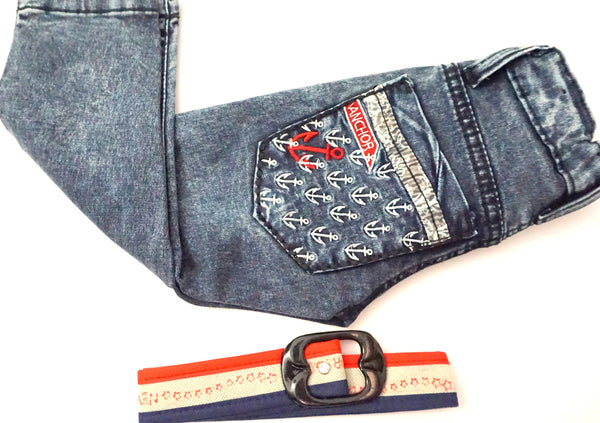 Embroidered Anchor Denim Pants for the Boys
