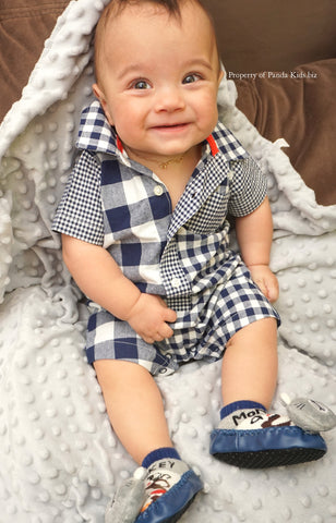 Navy Blue Plaid Print Romper