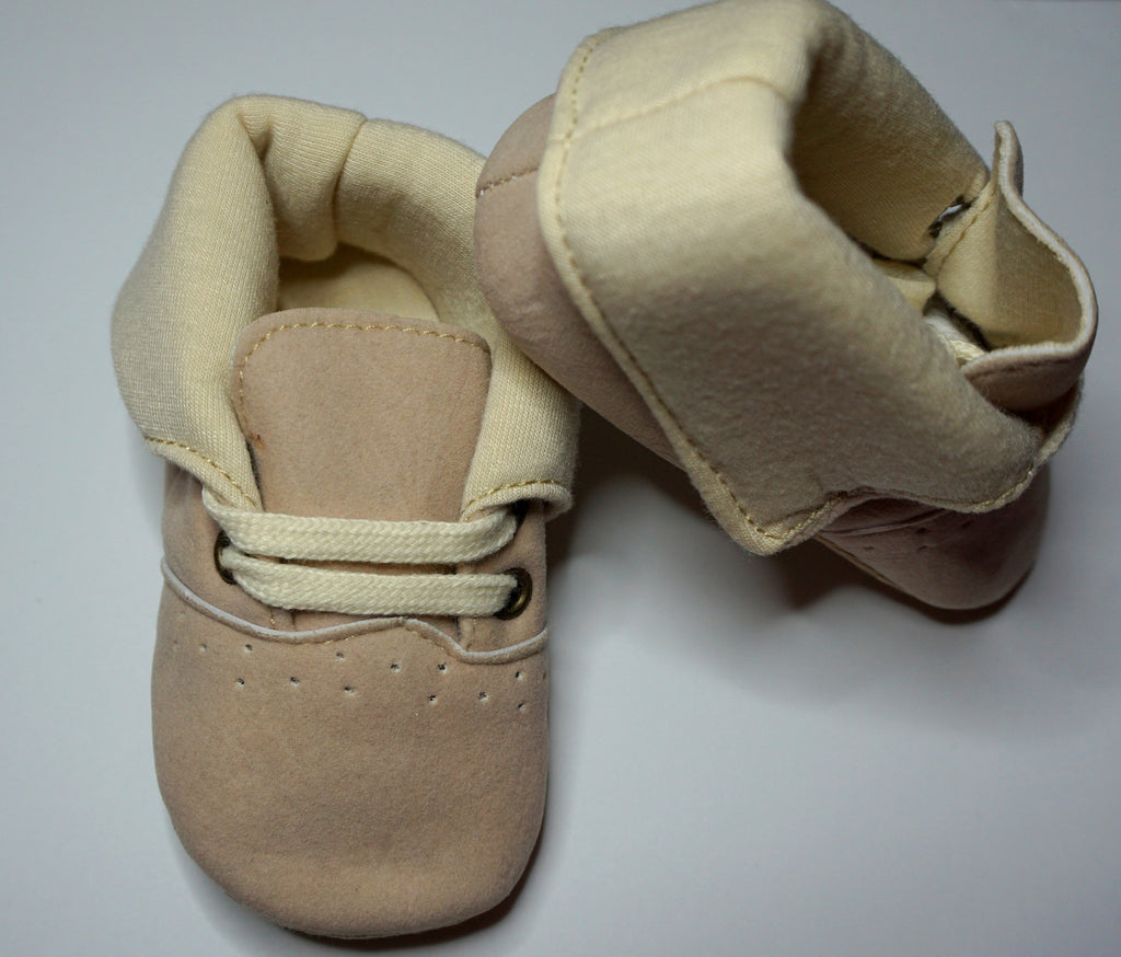 Beige Cotton Baby Shoes