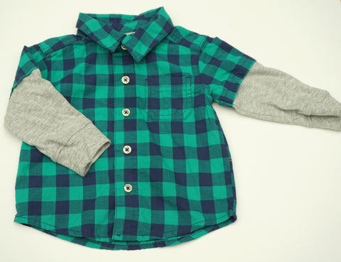 Blue and Green Checkers Long Sleeve Shirt