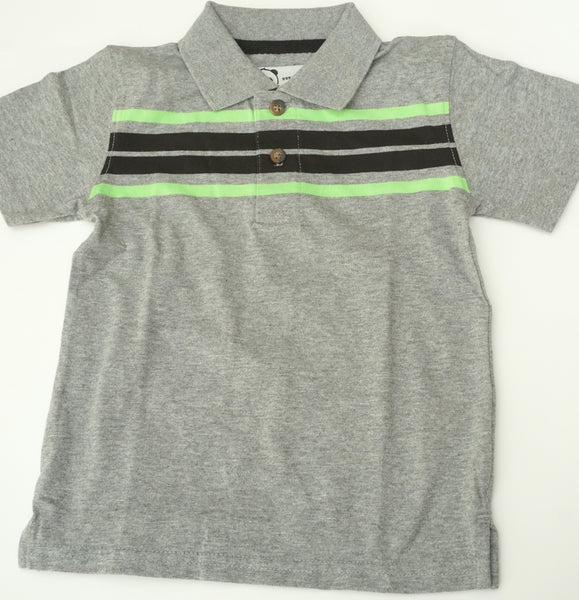 Green and Black on Grey Polo Shirt