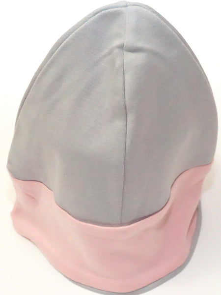 Grey and Pink Organic Cotton Beanie Hat