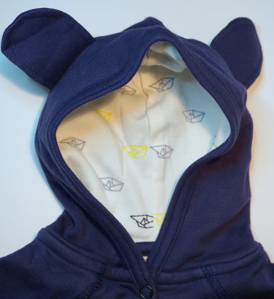 Organic Cotton Blue Hoody Sweatshirt