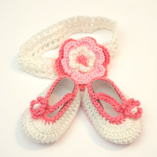 Newborn Crocheted Headband and Booties