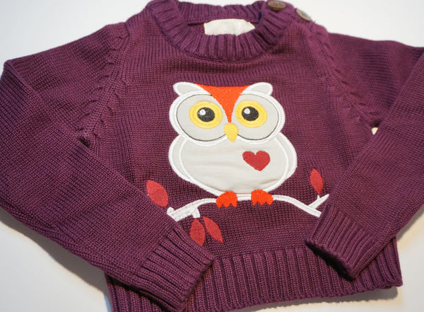 Organic Cotton Plum Owl Sweater