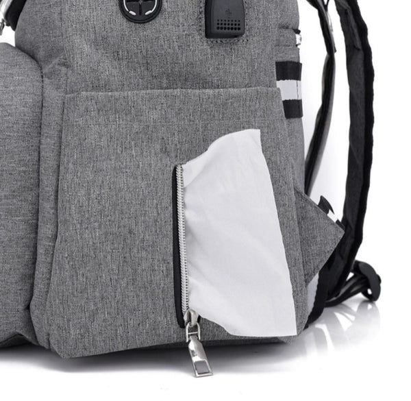 Waterproof Diaper Backpack With USB Connector & Thermally Insulated Pouch