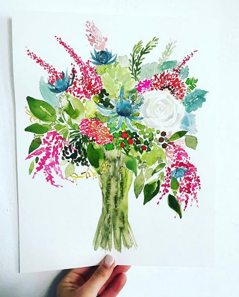 Custom Wedding Bouquet Painting