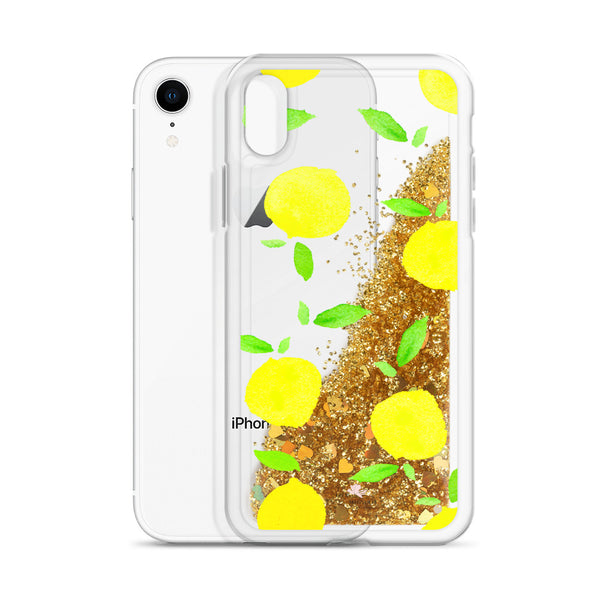 "Liquid Glitter Phone Case- ""Lemon Drop"""