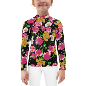 Kids Adventure Shirt- Poppies on Black