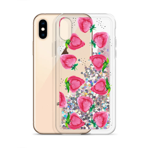 "Liquid Glitter Phone Case- ""Strawberries"""