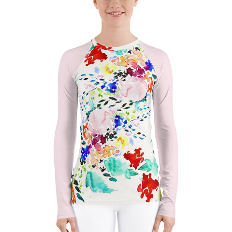Women's Adventure Shirt- Vibrant Melody with Blush Sleeves