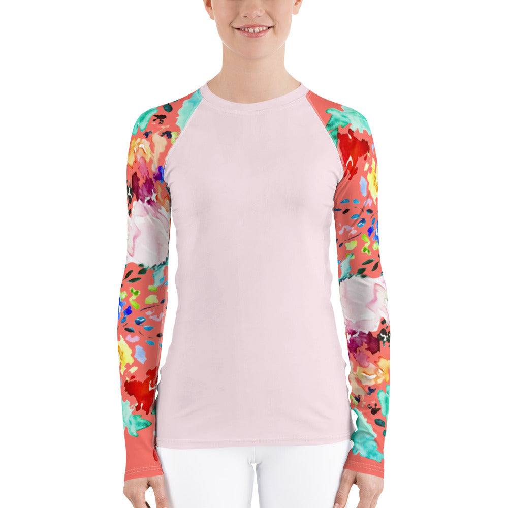 Women's Adventure Shirt- Blush with Coral Vibrant Melody