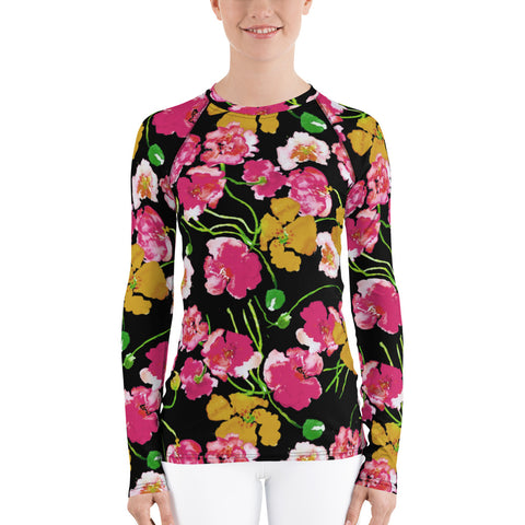 Women's Adventure Shirt- Poppies on Black