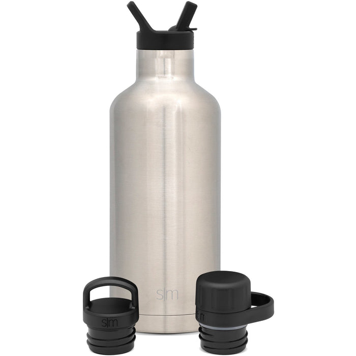 Ascent Water Bottle with Straw Lid, Flip Lid, and Chug Lid - 32oz