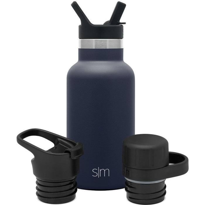Ascent Water Bottle with Straw Lid, Flip Lid, and Chug Lid - 12oz