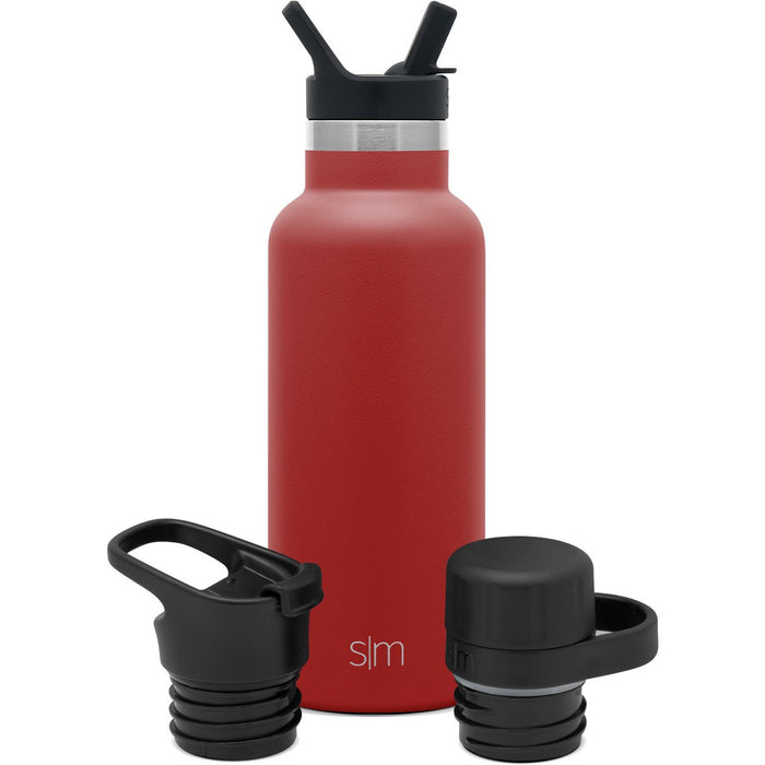 Ascent Water Bottle with Straw Lid, Flip Lid, and Chug Lid - 17oz