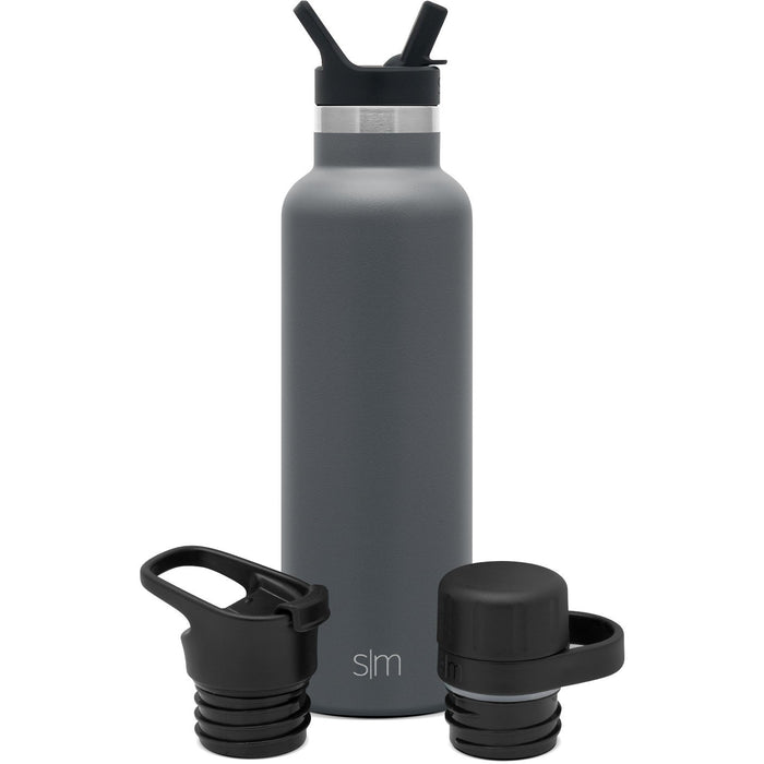 Ascent Water Bottle with Straw Lid, Flip Lid, and Chug Lid - 20oz