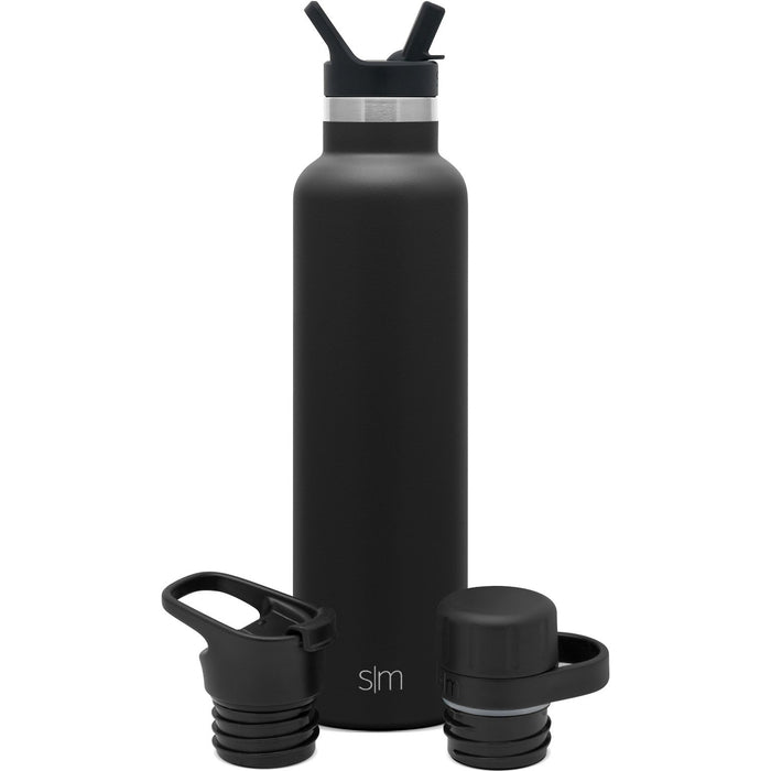 Ascent Water Bottle with Straw Lid, Flip Lid, and Chug Lid - 24oz