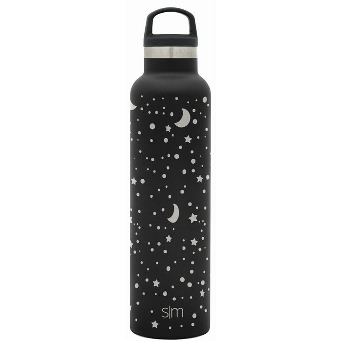 Midnight Black Laser Engraved Lunar Ascent Water Bottle Ascent Water Bottle - 24oz