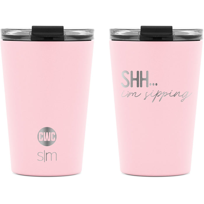"Coffee with Colton ""Shh...I'm Sipping"" Classic Tumbler with Clear Flip Lid and Straws - 12oz"
