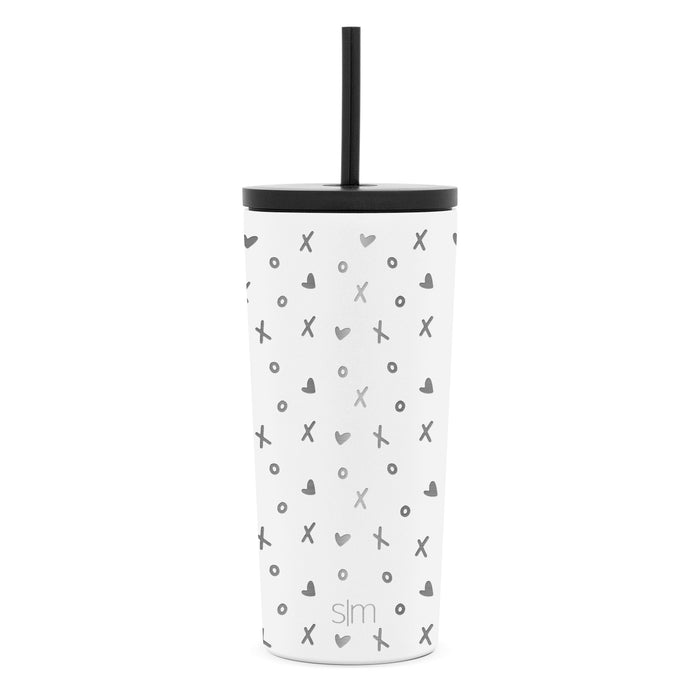 Laser Engraved Valentine's Day Collection Classic Tumbler with Straw and Flip Lid - 20oz