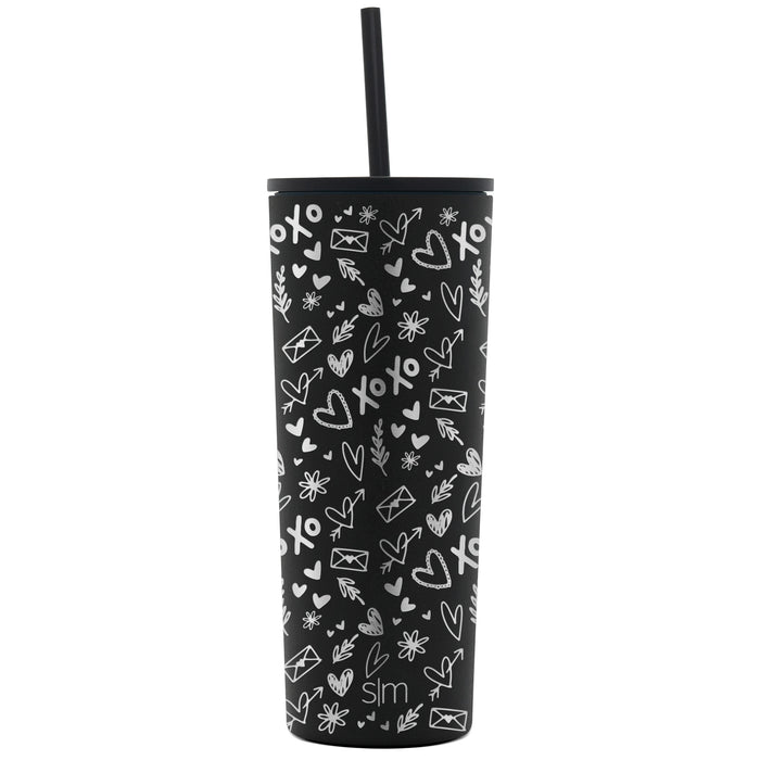Laser Engraved Valentine's Day Collection Classic Tumbler with Straw and Flip Lid - 24oz