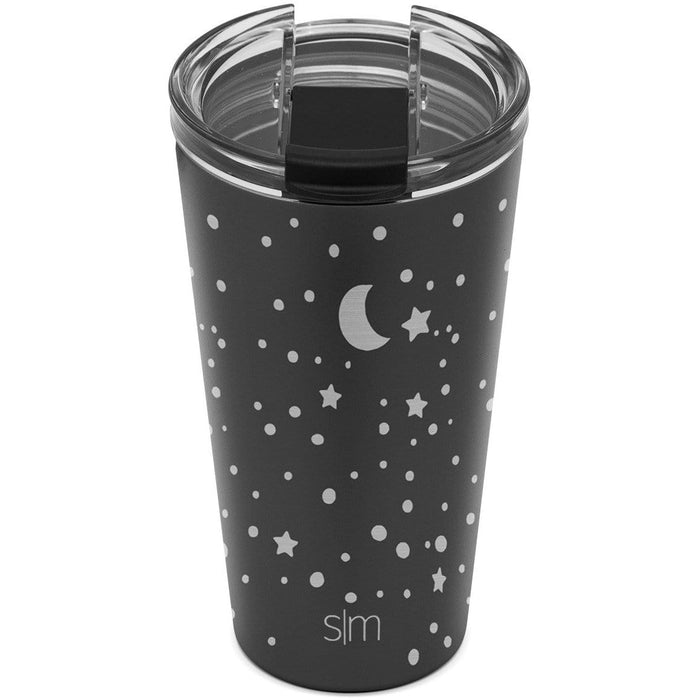 Midnight Black Laser Engraved Lunar Classic Tumbler with Clear Flip Lid Classic Tumbler with Clear Flip Lid & Straw - 16oz