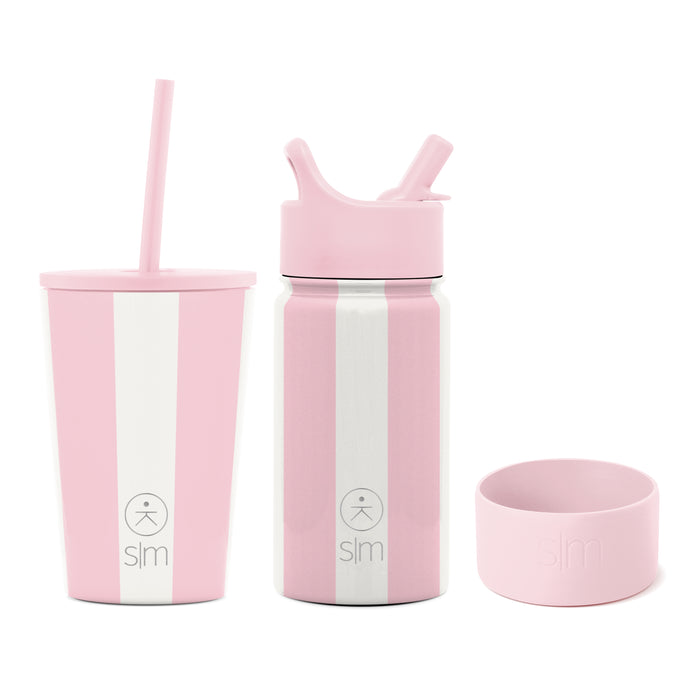 Just Pink Candy Stripe 12oz Kids Classic Tumbler and 14oz Kid's Summit Water Bottle with Silicone Boot