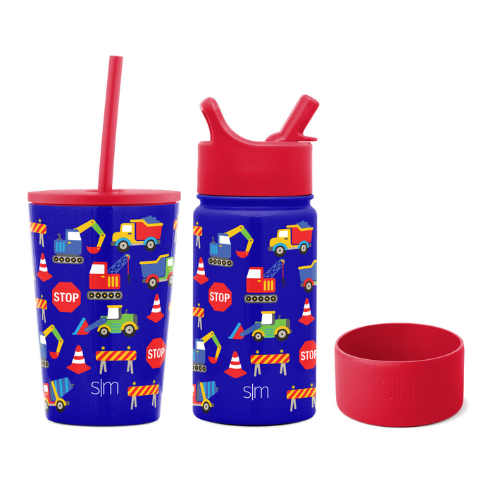 Under Construction 12oz Kids Classic Tumbler and 14oz Kid's Summit Water Bottle with Silicone Boot