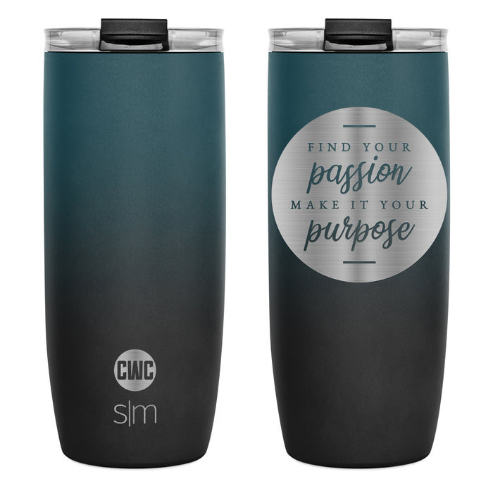 "Voyager ""Find Your Passion Make it Your Purpose"" Travel Mug with Clear Flip Lid and Straws - 20oz"