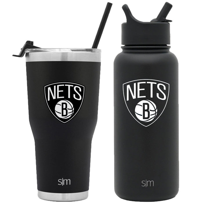 NBA Bundle Brooklyn Nets 30oz Cruiser Tumbler with Straw and 32oz Summit with Straw Lid Bundle