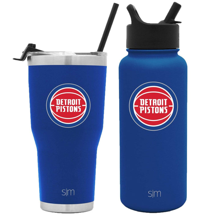 NBA Bundle Detroit Pistons 30oz Cruiser Tumbler with Straw and 32oz Summit with Straw Lid Bundle