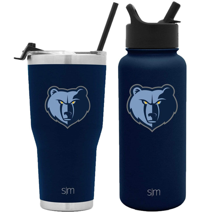 NBA Bundle Memphis Grizzlies 30oz Cruiser Tumbler with Straw and 32oz Summit with Straw Lid Bundle