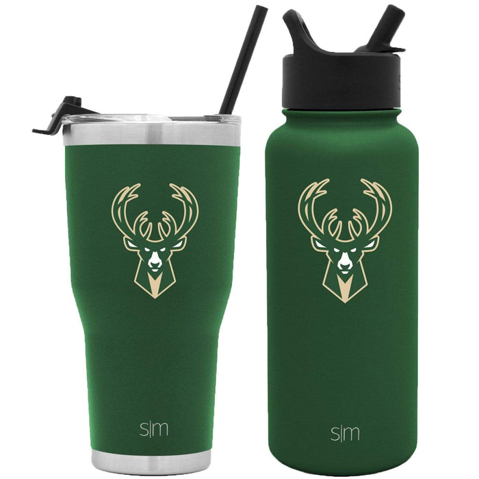 NBA Bundle Milwaukee Bucks 30oz Cruiser Tumbler with Straw and 32oz Summit with Straw Lid Bundle